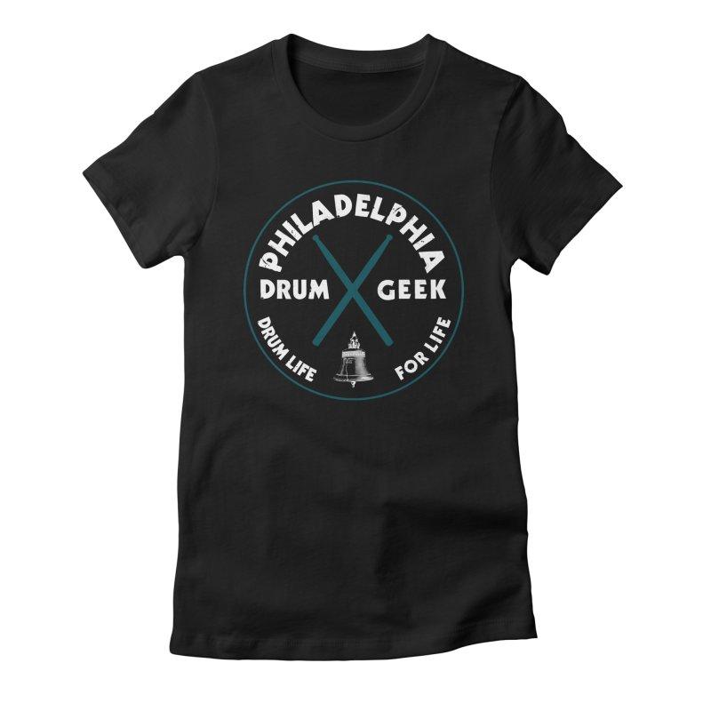Philadelphia Drum Geek Eagle Couture Alternate Women's Fitted T-Shirt by Drum Geek Online Shop