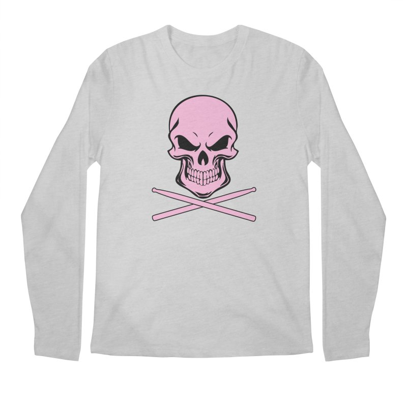 Drumskull (Bonesy Pink) Men's Regular Longsleeve T-Shirt by Drum Geek Online Shop