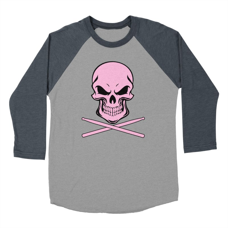 Drumskull (Bonesy Pink) Women's Baseball Triblend Longsleeve T-Shirt by Drum Geek Online Shop