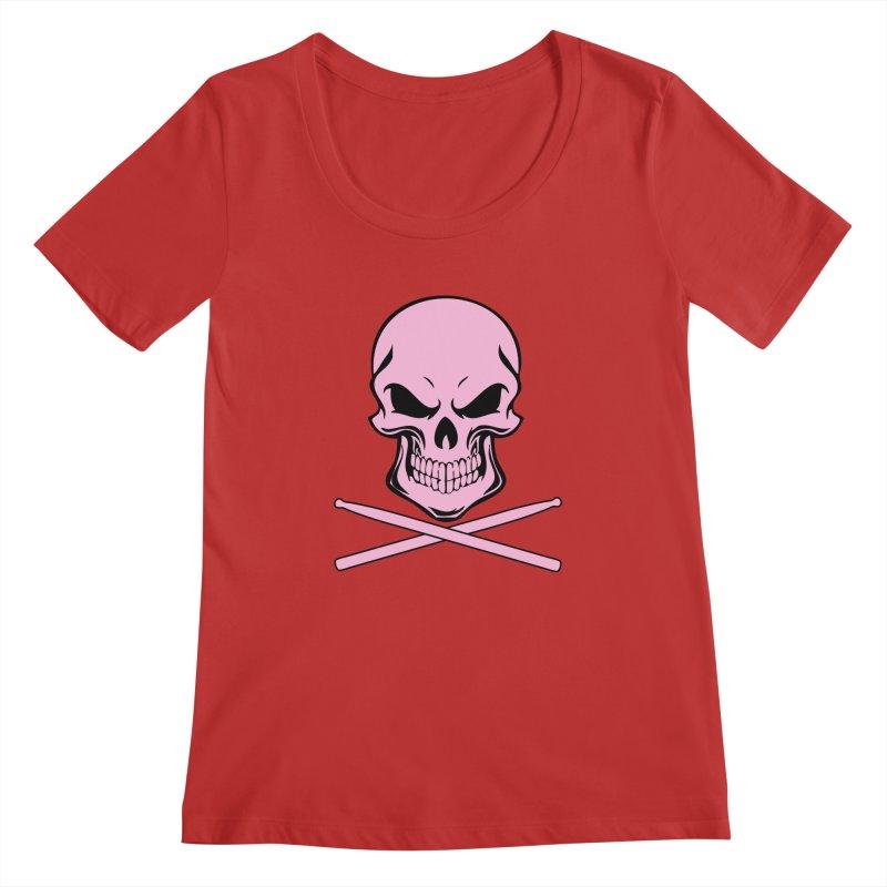 Drumskull (Bonesy Pink) Women's Regular Scoop Neck by Drum Geek Online Shop