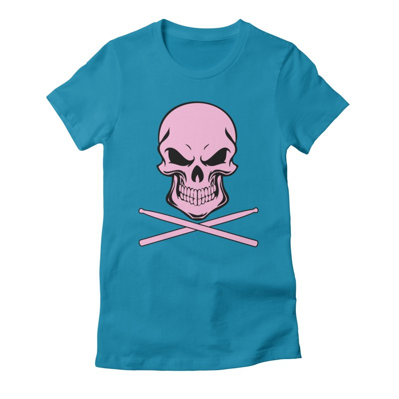Drumskull (Bonesy Pink) Women's Fitted T-Shirt by Drum Geek Online Shop