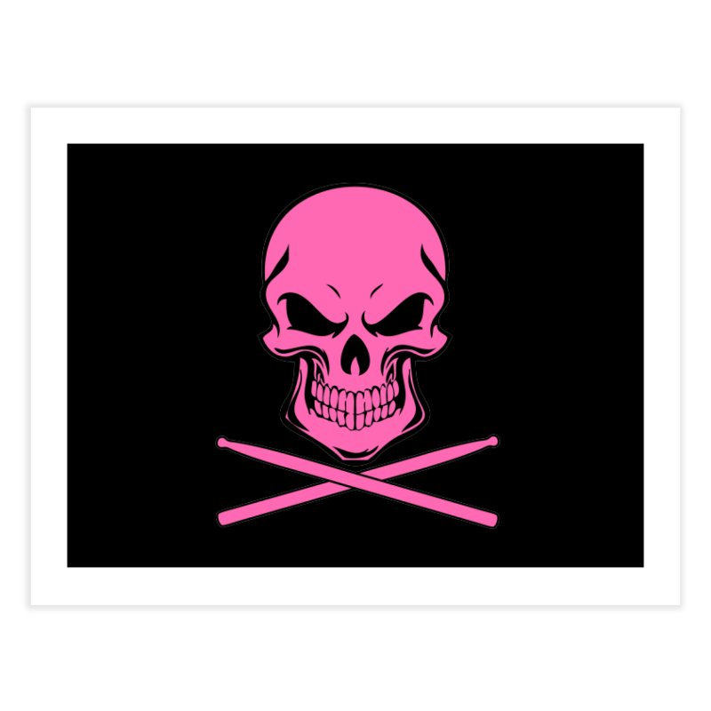 Drumskull (Bonesy Hot Pink) Home Fine Art Print by Drum Geek Online Shop