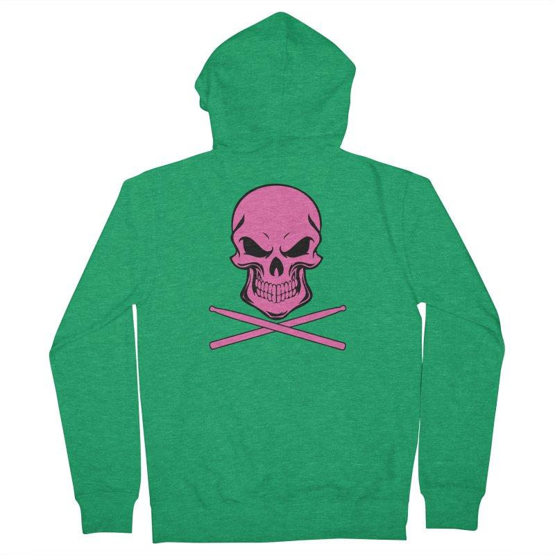 Drumskull (Bonesy Hot Pink) Men's Zip-Up Hoody by Drum Geek Online Shop