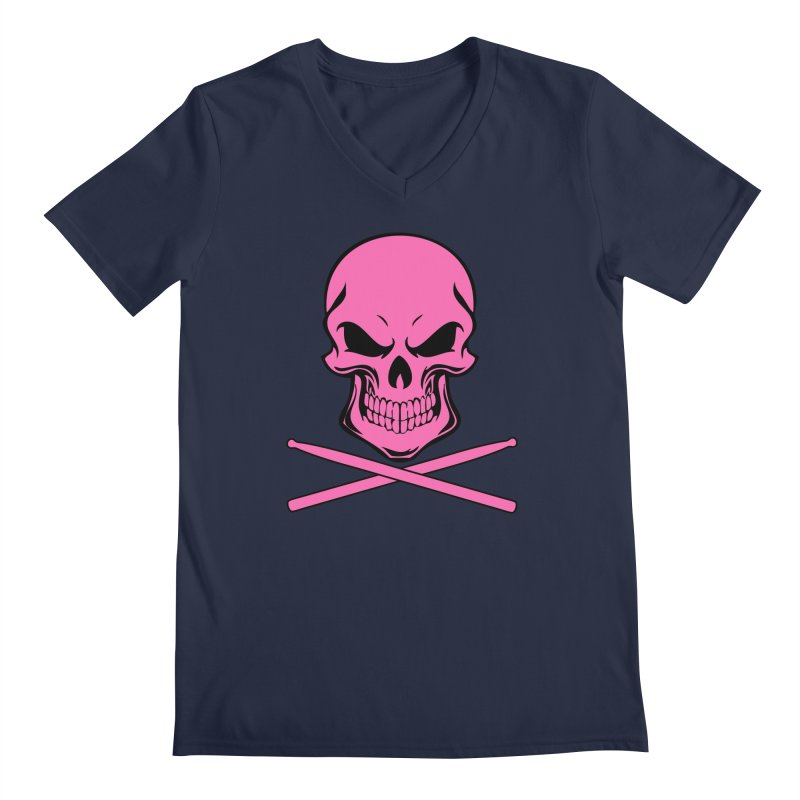 Drumskull (Bonesy Hot Pink) Men's V-Neck by Drum Geek Online Shop