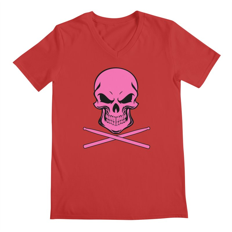 Drumskull (Bonesy Hot Pink) Men's V-Neck by Drum Geek Online Shop