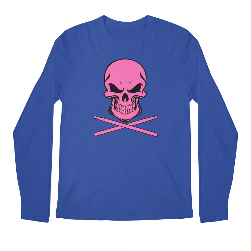 Drumskull (Bonesy Hot Pink) Men's Regular Longsleeve T-Shirt by Drum Geek Online Shop