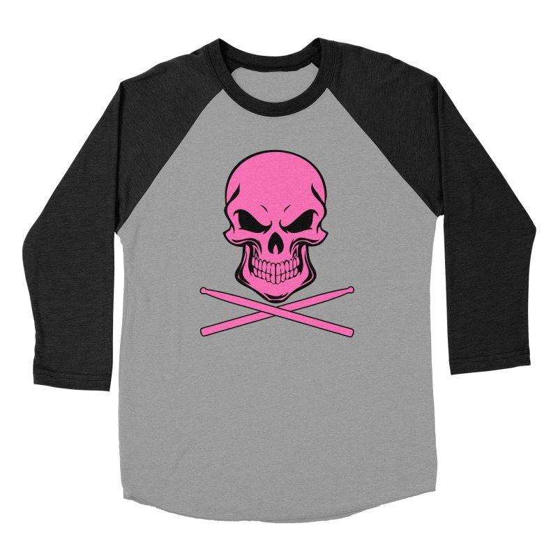 Drumskull (Bonesy Hot Pink) Women's Baseball Triblend Longsleeve T-Shirt by Drum Geek Online Shop