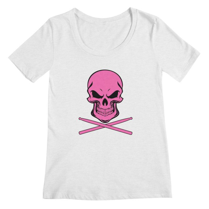 Drumskull (Bonesy Hot Pink) Women's Scoop Neck by Drum Geek Online Shop