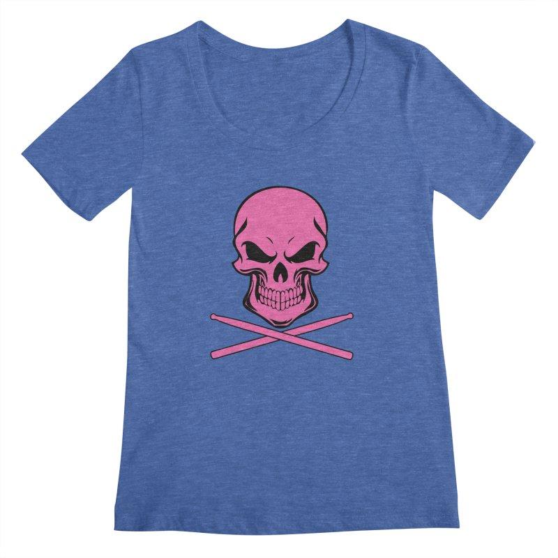 Drumskull (Bonesy Hot Pink) Women's Regular Scoop Neck by Drum Geek Online Shop