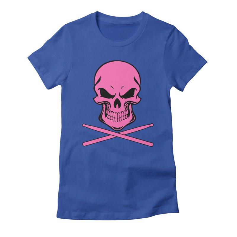 Drumskull (Bonesy Hot Pink) Women's Fitted T-Shirt by Drum Geek Online Shop
