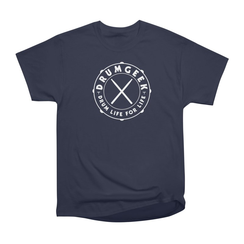 Drum Geek Alternate Logo (White) in Men's Heavyweight T-Shirt Navy by Drum Geek Online Shop