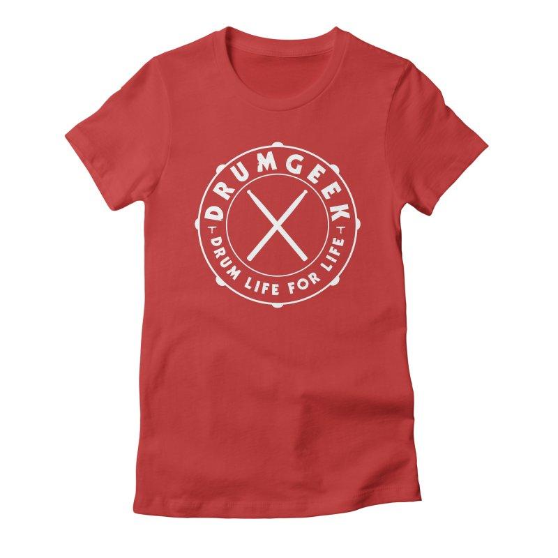Drum Geek Alternate Logo (White) Women's Fitted T-Shirt by Drum Geek Online Shop