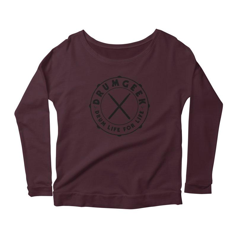 Drum Geek Alternate Logo (Black) Women's Longsleeve T-Shirt by Drum Geek Online Shop
