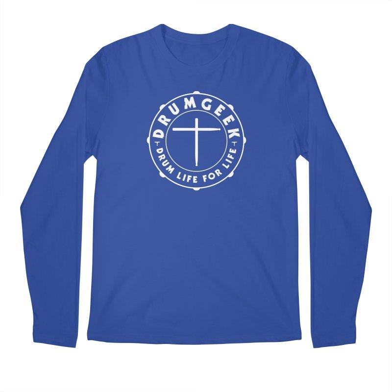 Christian Drum Geek (White) Men's Regular Longsleeve T-Shirt by Drum Geek Online Shop