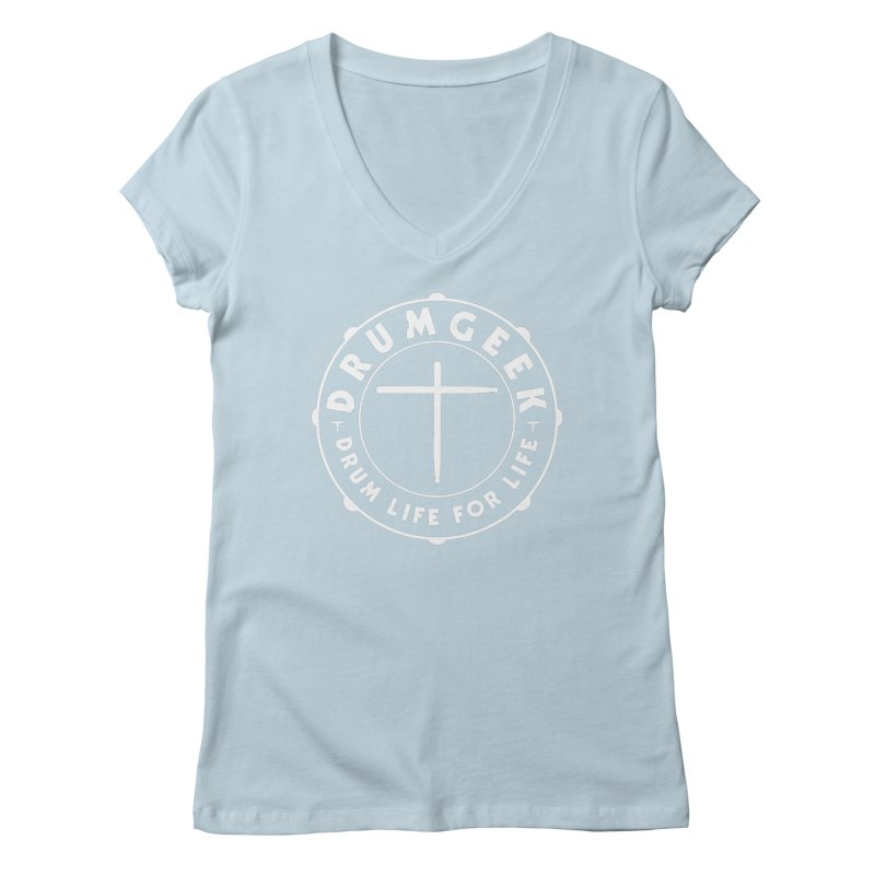 Christian Drum Geek (Style 1) - White Logo Women's V-Neck by Drum Geek Online Shop