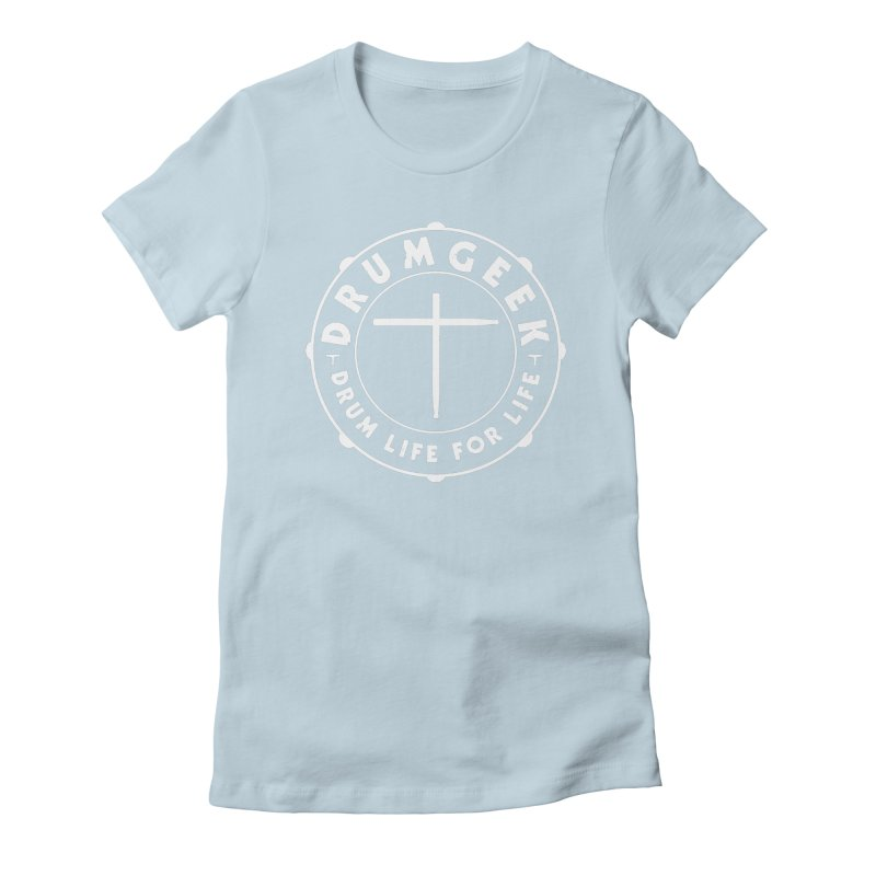 Christian Drum Geek (White) Women's Fitted T-Shirt by Drum Geek Online Shop