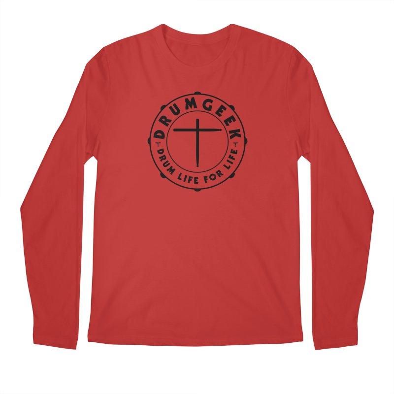 Christian Drum Geek (Black) in Men's Regular Longsleeve T-Shirt Red by Drum Geek Online Shop