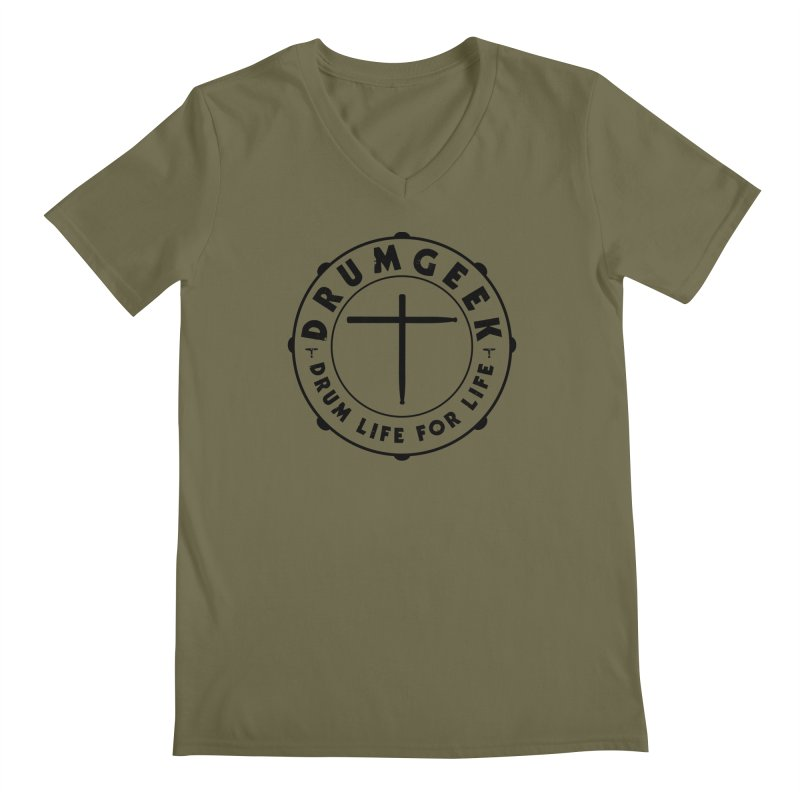 Christian Drum Geek (Black) in Men's Regular V-Neck Olive by Drum Geek Online Shop