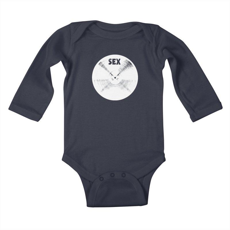 Sex Cymbal - White Logo Kids Baby Longsleeve Bodysuit by Drum Geek Online Shop