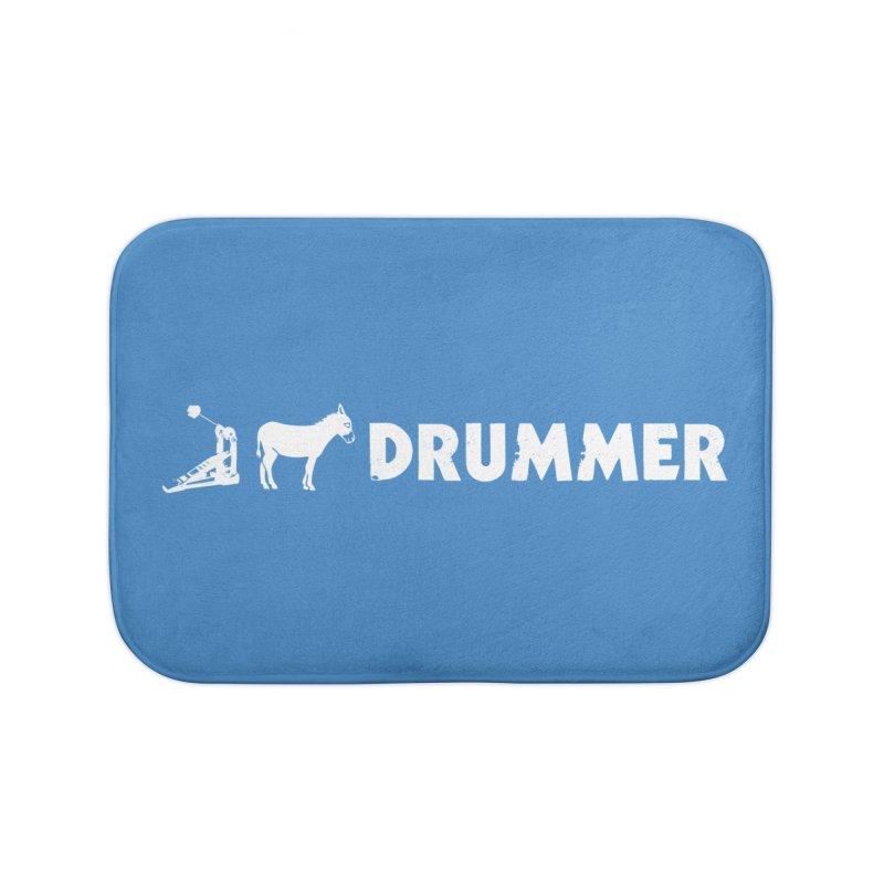 Kick Ass Drummer (White Logo) Home Bath Mat by Drum Geek Online Shop