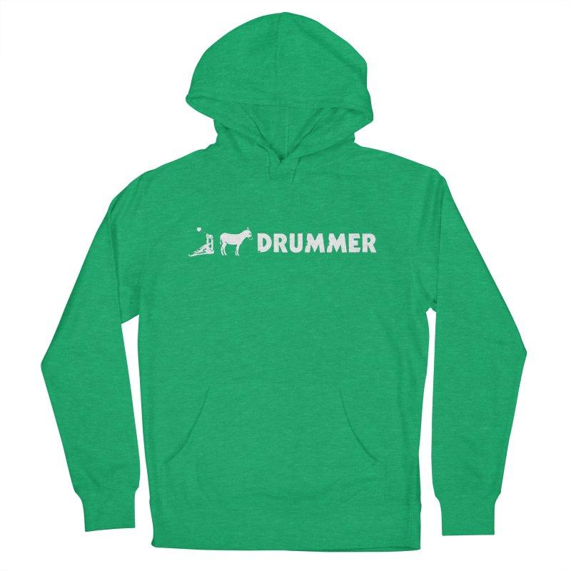 Kick Ass Drummer (White Logo) Men's Pullover Hoody by Drum Geek Online Shop