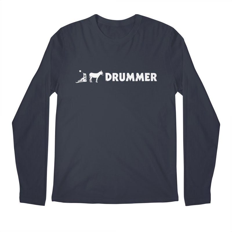 Kick Ass Drummer (White Logo) Men's Longsleeve T-Shirt by Drum Geek Online Shop