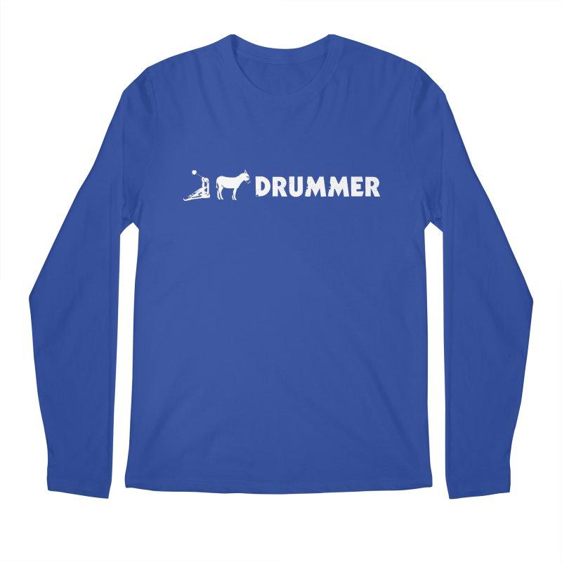 Kick Ass Drummer (White Logo) Men's Longsleeve T-Shirt by Drum Geek Online Shop