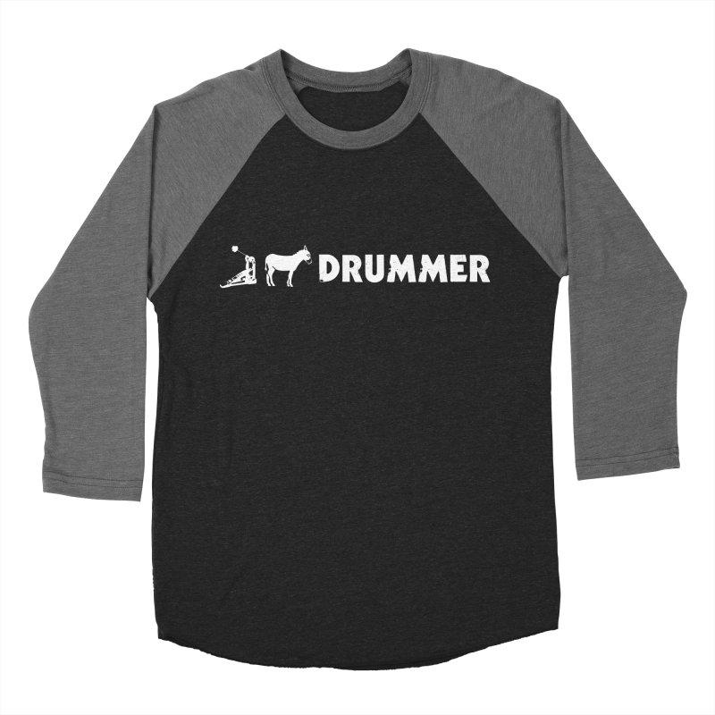 Kick Ass Drummer (White Logo) in Men's Baseball Triblend Longsleeve T-Shirt Grey Triblend Sleeves by Drum Geek Online Shop