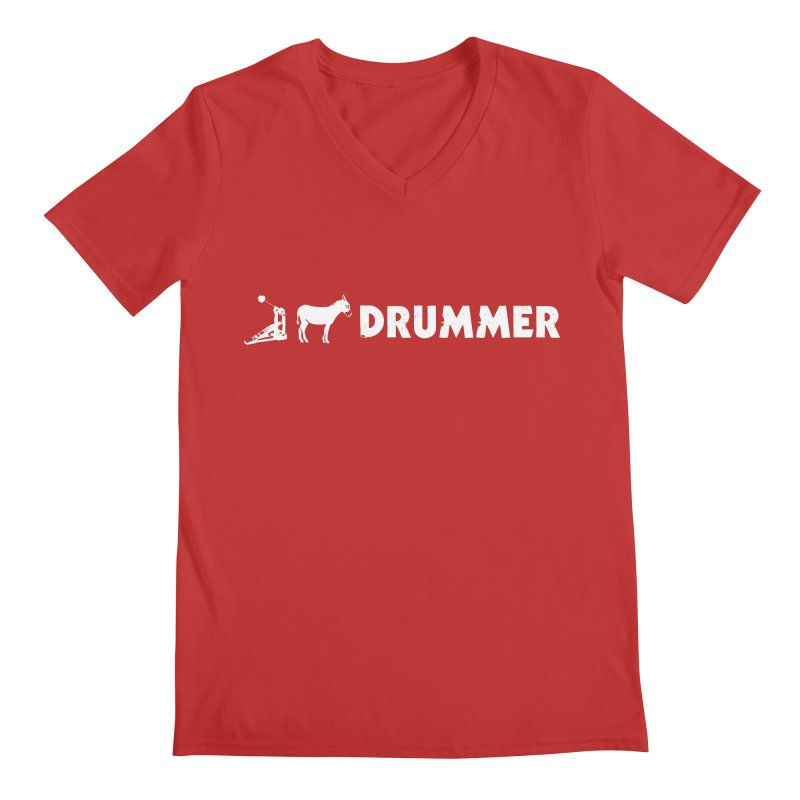 Kick Ass Drummer (White Logo) Men's V-Neck by Drum Geek Online Shop