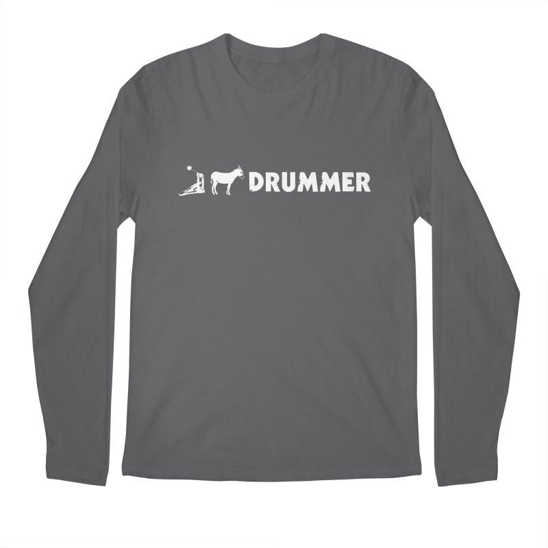 Kick Ass Drummer (White Logo) Men's Regular Longsleeve T-Shirt by Drum Geek Online Shop
