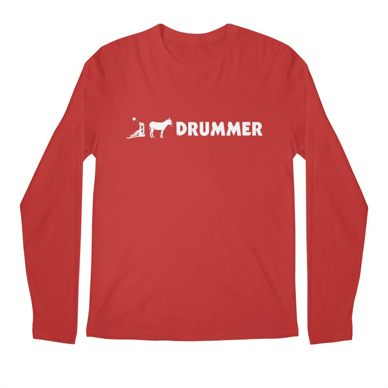 Kick Ass Drummer (White Logo) Men's Regular Longsleeve T-Shirt by Drum Geek Online Shop