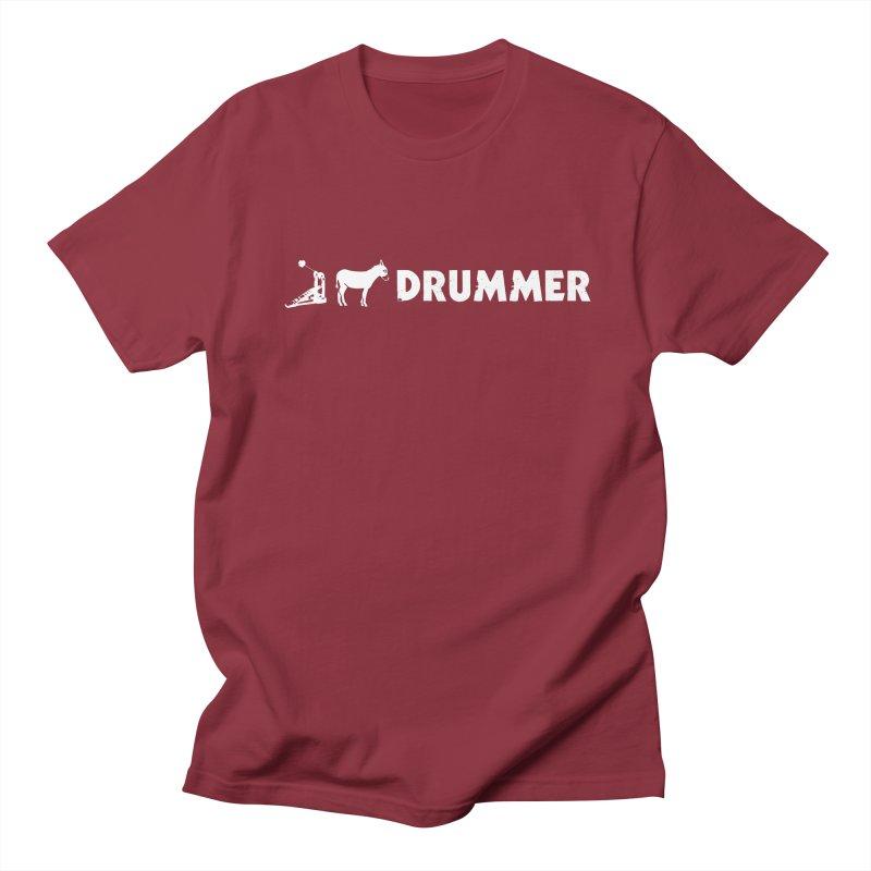 Kick Ass Drummer (White Logo) Women's Regular Unisex T-Shirt by Drum Geek Online Shop