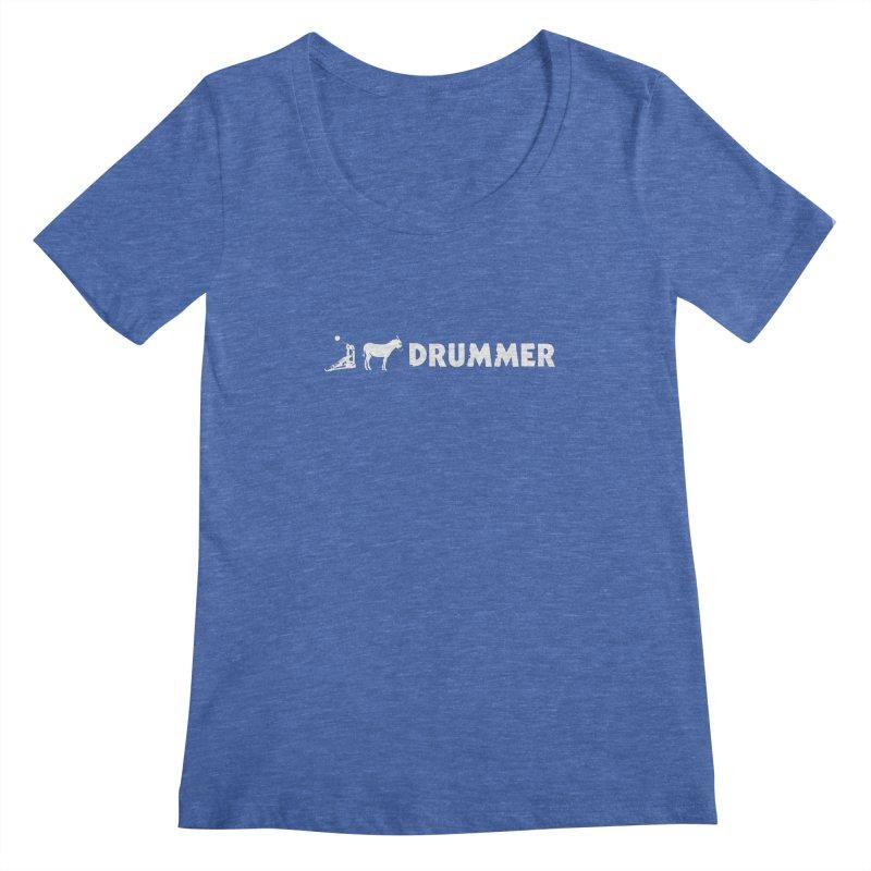 Kick Ass Drummer (White Logo) Women's Regular Scoop Neck by Drum Geek Online Shop