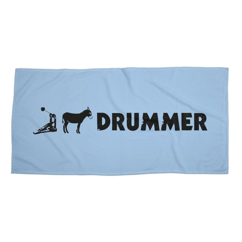 Kick Ass Drummer (Black Logo) Accessories Beach Towel by Drum Geek Online Shop