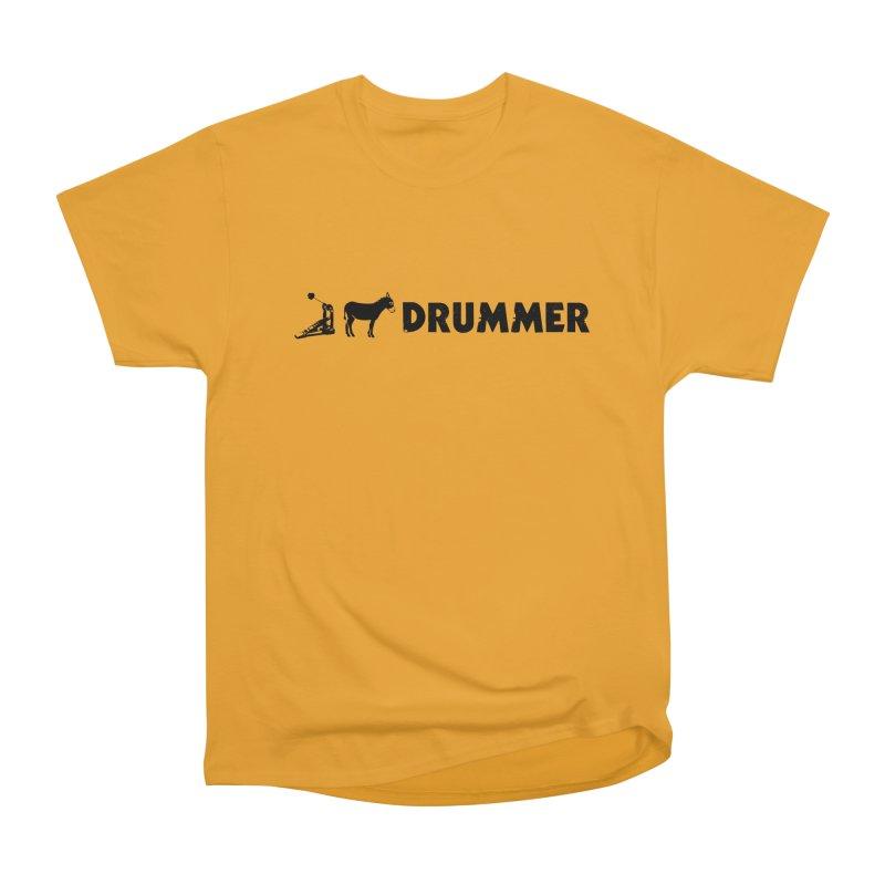 Kick Ass Drummer (Black Logo) in Men's Heavyweight T-Shirt Gold by Drum Geek Online Shop