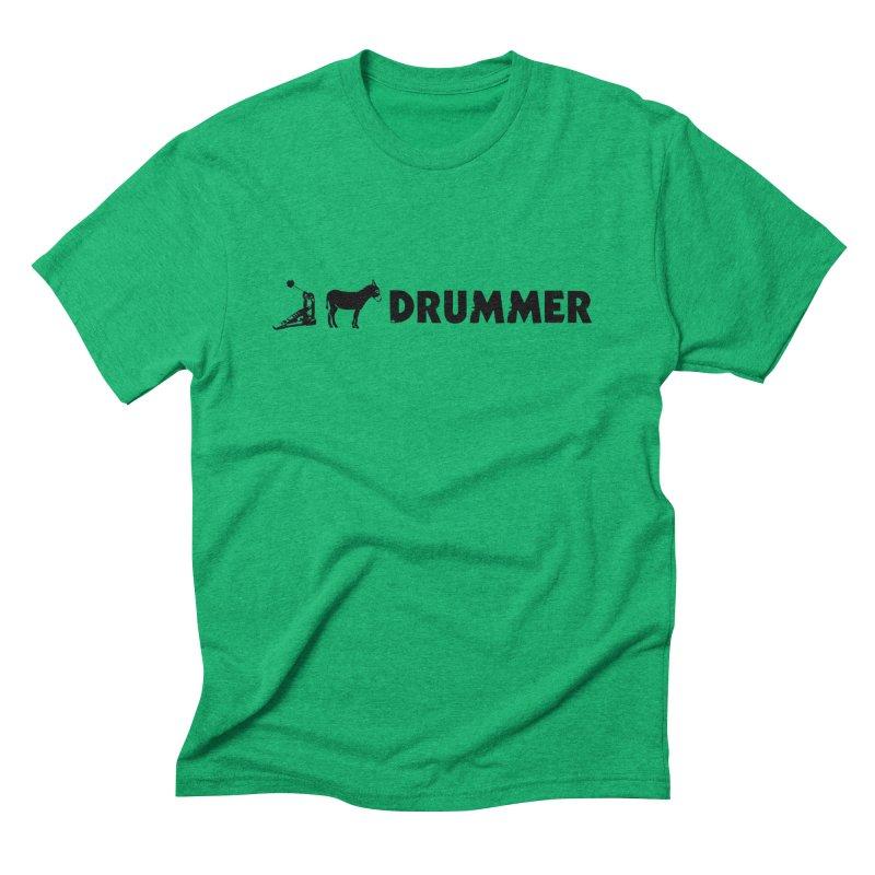 Kick Ass Drummer (Black Logo) in Men's Triblend T-Shirt Tri-Kelly by Drum Geek Online Shop