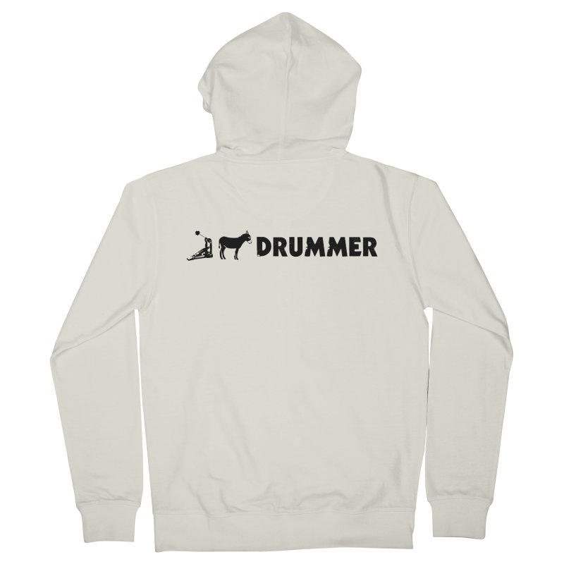 Kick Ass Drummer (Black Logo) Men's Zip-Up Hoody by Drum Geek Online Shop