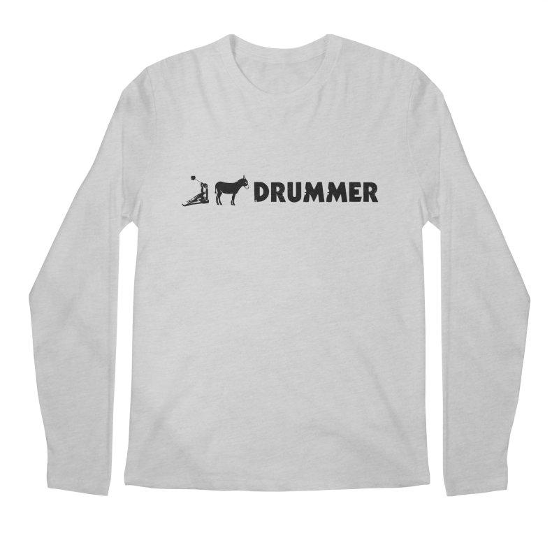 Kick Ass Drummer (Black Logo) Men's Regular Longsleeve T-Shirt by Drum Geek Online Shop