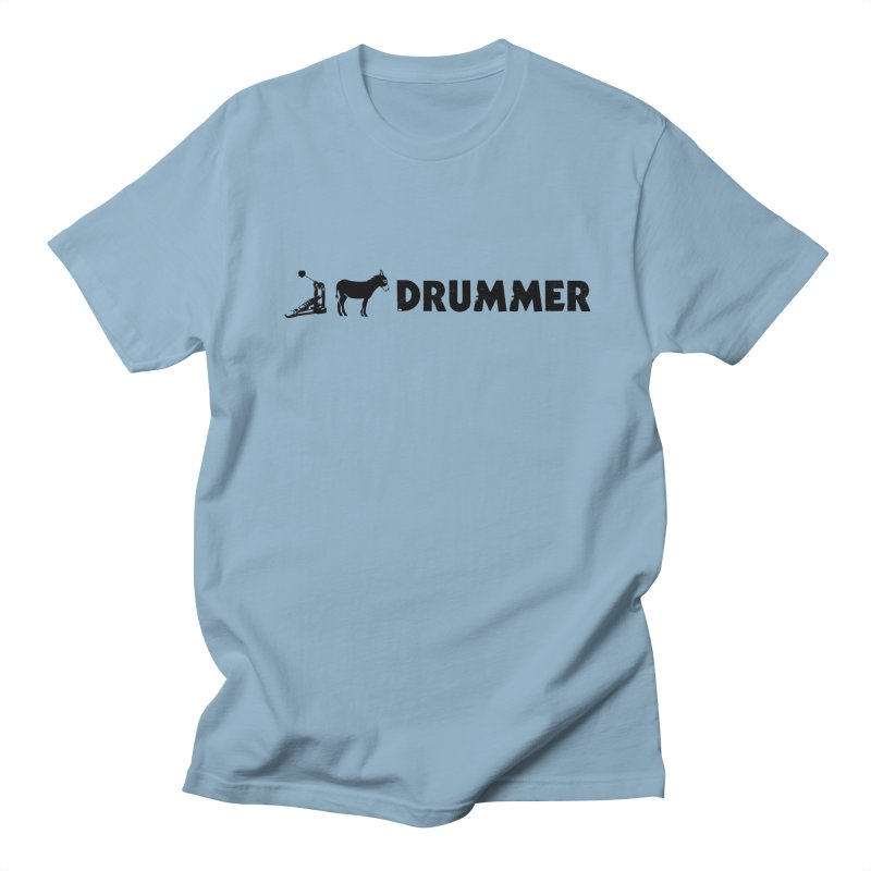 Kick Ass Drummer (Black Logo) in Men's T-Shirt Light Blue by Drum Geek Online Shop