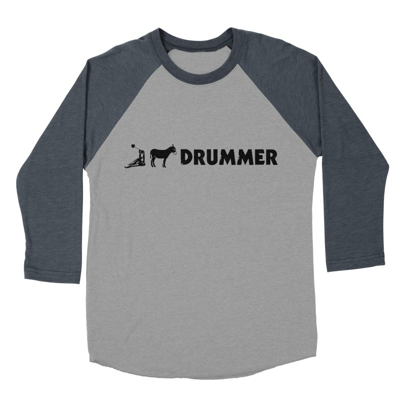 Kick Ass Drummer (Black Logo) in Men's Baseball Triblend T-Shirt Navy Sleeves by Drum Geek Online Shop