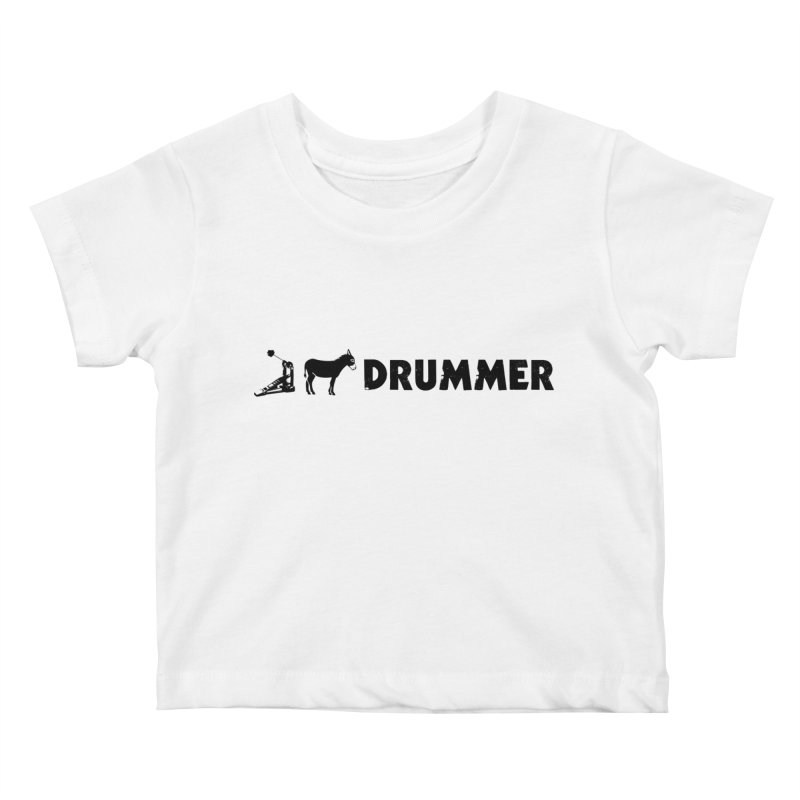 Kick Ass Drummer (Black Logo) Kids Baby T-Shirt by Drum Geek Online Shop