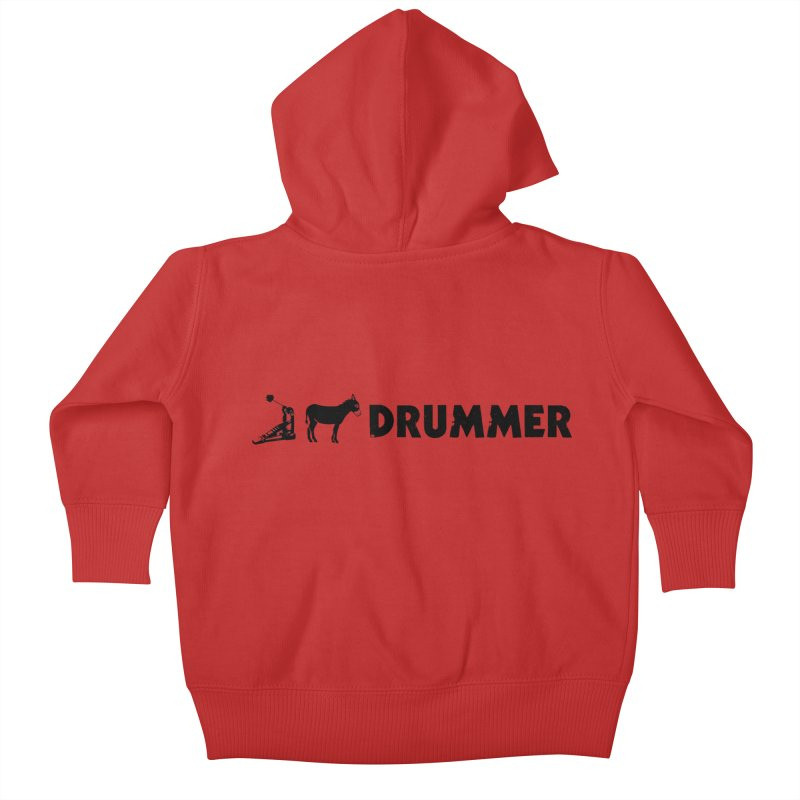 Kick Ass Drummer (Black Logo) Kids Baby Zip-Up Hoody by Drum Geek Online Shop