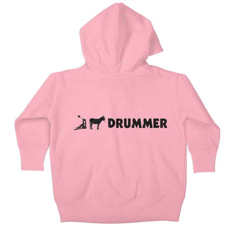 Kick Ass Drummer (Black Logo) Kids Baby Zip-Up Hoody by Drum Geek Online Shop