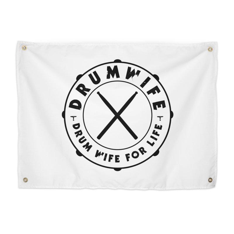 Drum Wife - Black Logo Home Tapestry by Drum Geek Online Shop