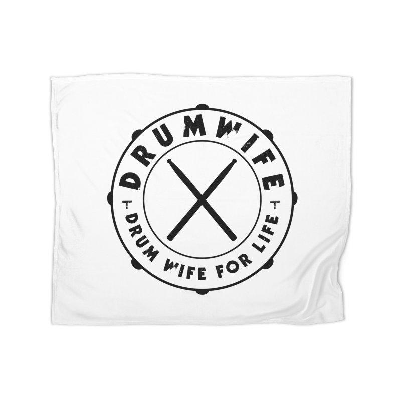 Drum Wife - Black Logo Home Fleece Blanket Blanket by Drum Geek Online Shop