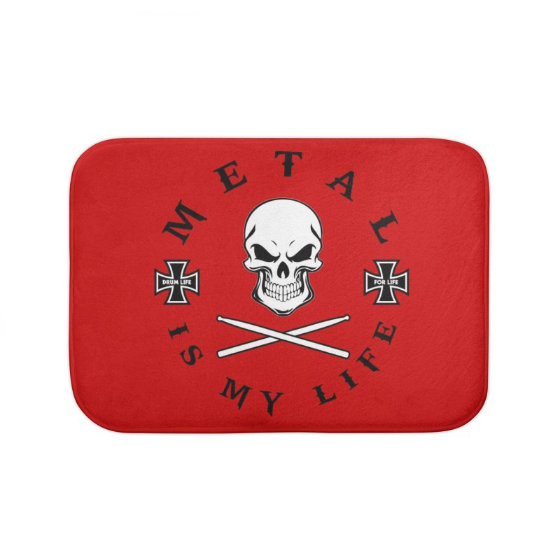 Metal Is My Life (White Skull) Home Bath Mat by Drum Geek Online Shop