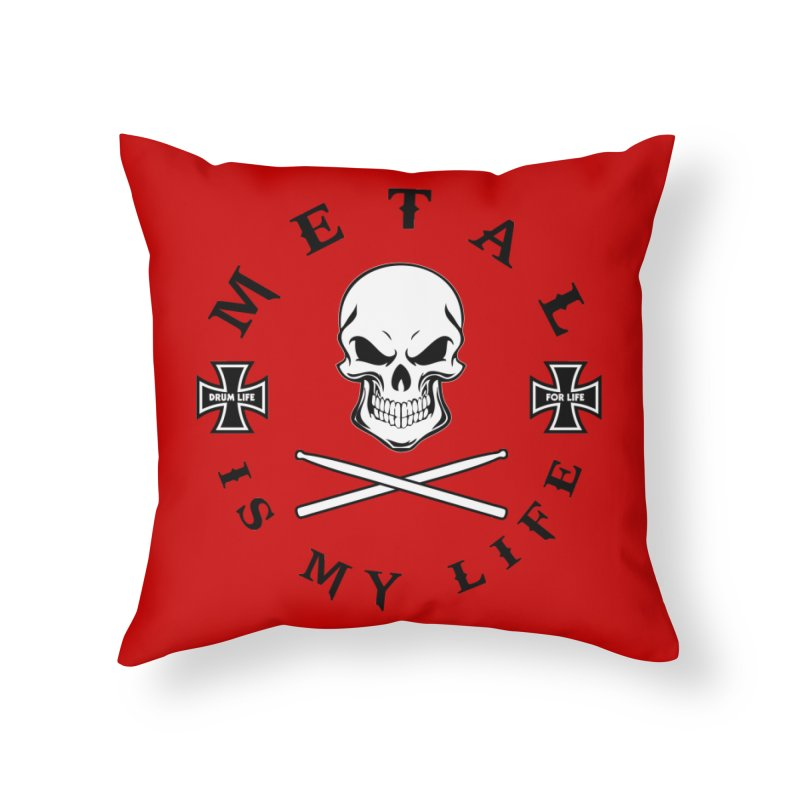 Metal Is My Life (White Skull) Home Throw Pillow by Drum Geek Online Shop