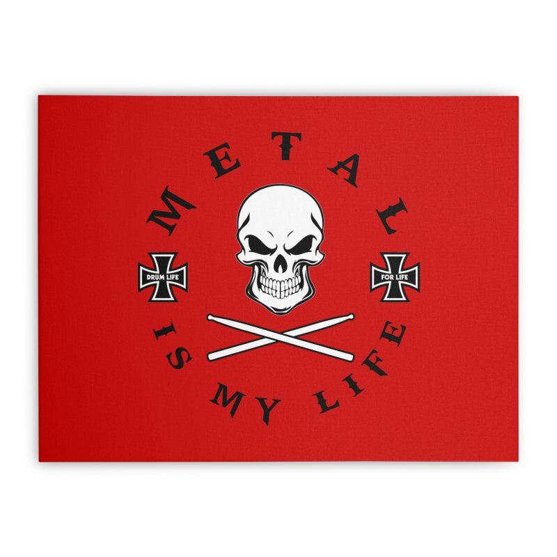 Metal Is My Life (White Skull) Home Stretched Canvas by Drum Geek Online Shop