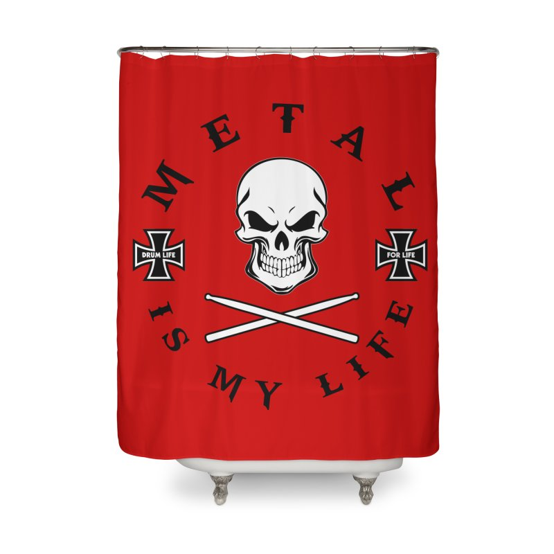 Metal Is My Life (White Skull) Home Shower Curtain by Drum Geek Online Shop