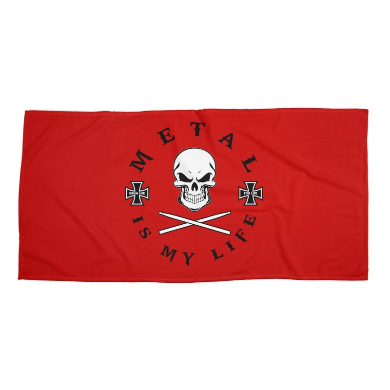Metal Is My Life (White Skull) Accessories Beach Towel by Drum Geek Online Shop
